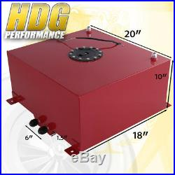 Red Aluminum Fuel Cell Gas Tank 15 Gallon 60 Liters with Black Cap + Oil Feed Line