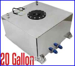 Silver Polished 20 GALLON UNIVERSAL FABRICATED FUEL CELL WITH 10-AN FITTINGS