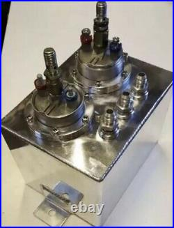 Twin Bosch 044 Fuel Pump Aluminium 3 Litre Swirl Surge Tank Pot Rally Drift Race